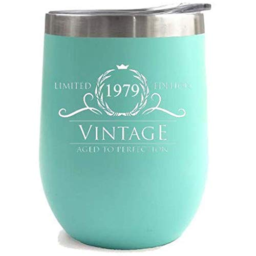 1979 40th Birthday Gifts for Women Men Tumbler | 12 oz Mint Stainless Steel Insulated Tumblers | Anniversary Gift Ideas for Husband Wife Mom Dad | Party Decorations Supplies Him Her Cups -
