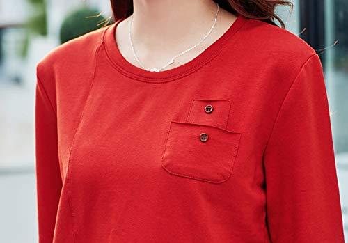 orange Shirts Automne Blouse Shirts Tees Tops Sweat Printemps Fashion Rond T Femmes Col Manches Jumpers Hauts Slim Casual Rouge et Shirts Longues 1vvqTw57