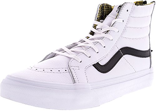 f4abd51e10ef Galleon - Vans Sk8-Hi Slim Zip Plaid Flannel True White Black High-Top  Leather Skateboarding Shoe - 10M 8.5M