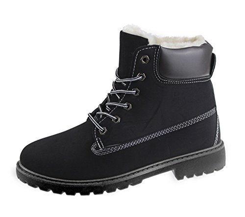 Womens Ankle Combat Boots Rubber Grip Sole Ladies High Top Hiking Desert Winter Warm Biker Riding Shoes Size Black With Black Sole