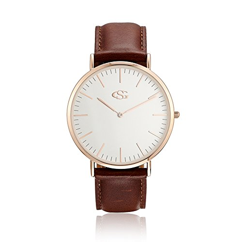 George · Smith Classic His and Hers Couples Genuine Leather Band Quartz Wrist Watches by GEORGE · SMITH