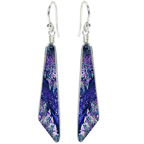Queen Falls Earrings - Nickel Smart - Purple & Lavendar Dichroic Glass Nickel Free Dangle Earrings