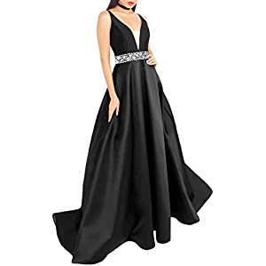3d3716db03657 Women's Long Deep V Neck Satin Beaded Prom Dresses with Pockets Formal Gowns  J126