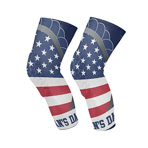 Knee Sleeve Happy Veteran's Day Full Leg Brace Compression Long Sleeves Pant Socks for Running, Jogging, Sports, Crossfit, Basketball, Joint Pain Relief, Men and Women 1 Pair ()