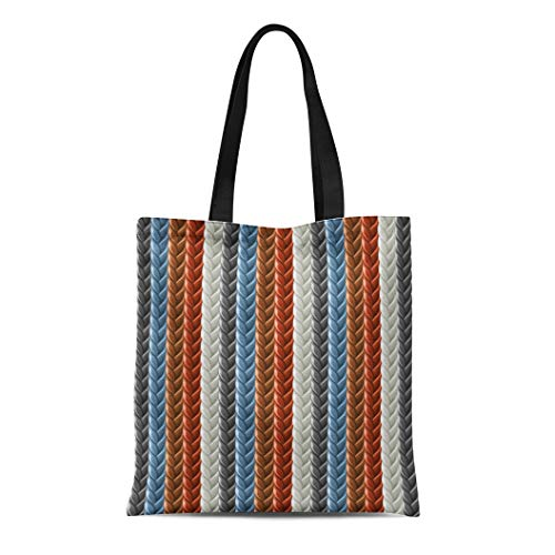 (Semtomn Canvas Tote Bag Shoulder Bags Pattern Braid Braided Plait White Rope Abstraction Accessory Appearance Women's Handle Shoulder Tote Shopper Handbag)