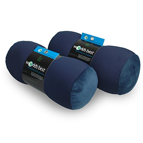 World's Best 2pcs Microbead Bolster Tube Pillows, Smooth Coo