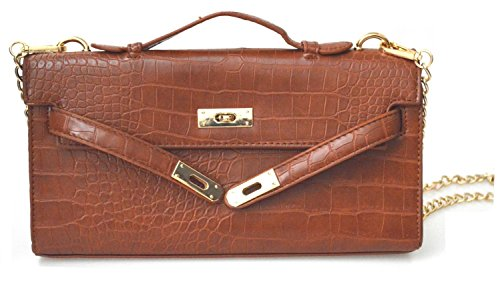 Wallets Edith Hardware Inspired Long Clutches Purses Silver Designer Brown Croc BrccXWpUA