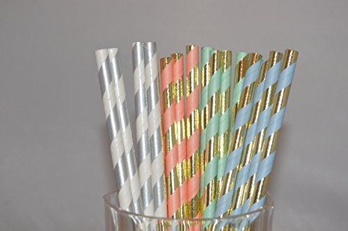 Swirly Twirly Combo Straws, Biodegradable Paper Straws, Very attractive & Flowery Designs (100 Pcs, Combo-43)
