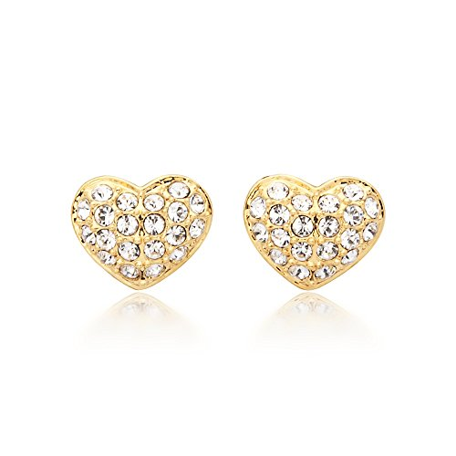 MYJS Alana 16k Gold Plated Pave Heart Stud Earrings with Clear Swarovski Crystals