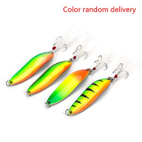 LafyHo 1pcs 5g Fishing Spinner Bait Fishing Lure Shine Metal Hard Lure With Feather