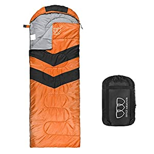 Sleeping Bag – Sleeping Bag for Indoor & Outdoor Use - Great for Kids, Boys, Girls, Teens & Adults. Ultralight and Compact Bags for Sleepover, Backpacking & Camping (Orange / Black - Left Zipper)