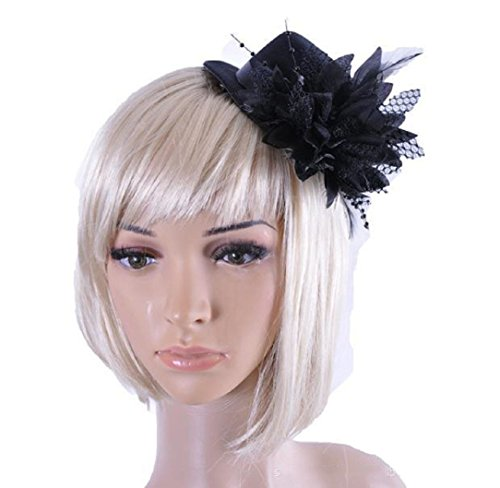 YABINA Lady Girl Mesh Feather Hair Clip Fascinator Hats For Wedding Party ()