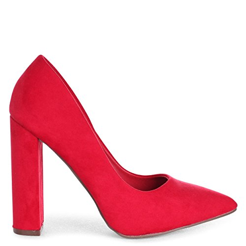 Linzi IZZY - Red Suede Classic Court Shoe with Block Heel Red Suede 06xGOBpXI