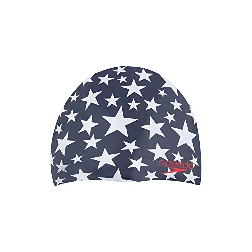 Speedo Starband Swim Cap, One Size, Navy/Red/White