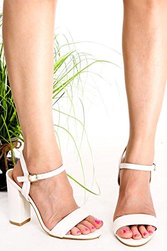 Lolli Couture Pu Läder Öppen Tå Ankelbandet Utklipp Tillbaka Chunky Höga Klackar Skor Whitepu