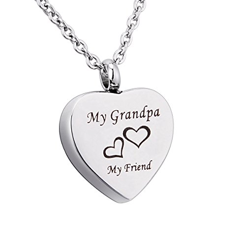Engraved My Grandpa+My Friend Heart Memorial Urn Pendant Necklace Stainless Steel Ashes Keepsake Cremation Jewelry