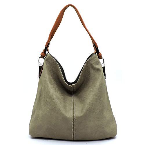 Slouchy light and classic hobo shoulder handbag with detachable cross-body shoulder strap (Grey)