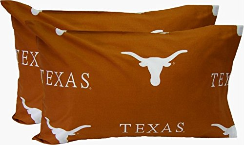 College Covers Texas Longhorns Pillowcase Pair - Solid (Includes 2 Standard Pillowcases)