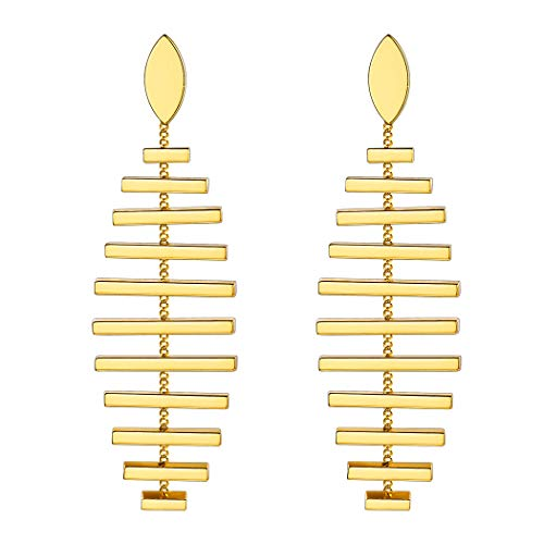 Gold Fish Bone Stud Earrings Statement Jewelry Tree Branch Leaf Stripe Tassel Drop Dangle Earrings Bridesmaid ()