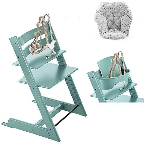 Stokke Tripp Trapp High Chair, Baby Set - Aqua Blue & Mini C