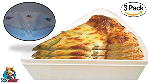ice Container - Pizza Tupperware - (3 Pack) - Saves a Ton of Money on Wraps Bags and Foils for Your Leftover Pizza Slices - Plastic Pizza Box - Pizza Slice Storage (Leftovers Containers)