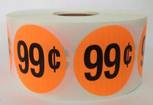 1 Roll of 1000 1.5 inch Round ORANGE $.99 Retail Price Point Labels Stickers