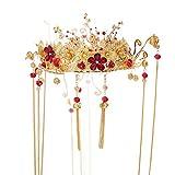 Girls Crown, Beautiful headdress/Chinese Ancient Costume Plum Blossom Phoenix Coronet Xiu Dress Headgear Golden Fringes Crown Wedding Modelling Accessories.