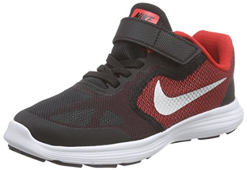 NIKE Kids' Revolution 3 Running Shoe (PSV), University Red/Metallic Silver/Black, 1 M US Little Kid