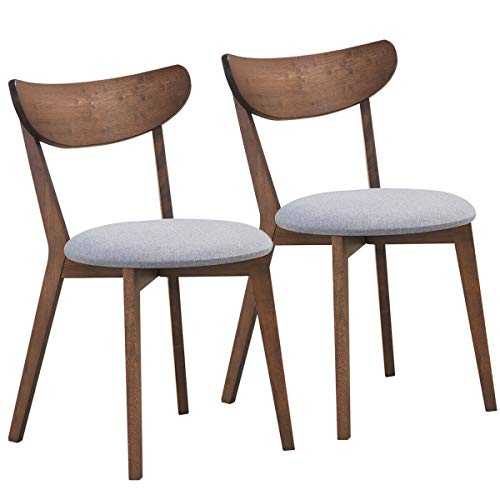 COSTWAY Set of 2 Walnut Dining Chairs, Mid-Century Dining Side Chairs with Curved Back and Cushioned Seat, Rubber Wood Legs Chairs with Sturdy Construction, Comfort for Living Room, Bedroom, Kitchen