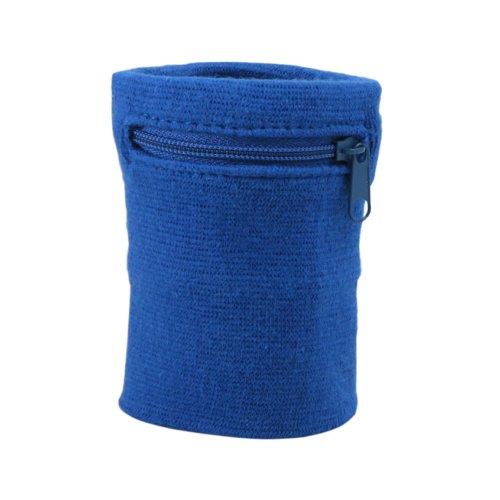 Suddora Zipper Wrist Pouch - Sweatband/Wristband Wallet for Keys, ID, Cards, Cash (Blue)