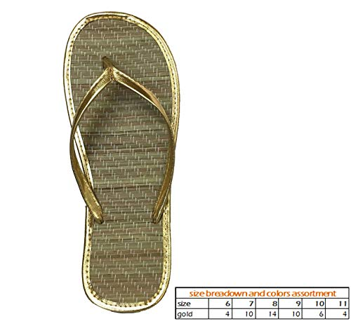 Wholesale Women's Bamboo Sandals Nice and Simple Beach flip Flop Pack of 48 (1212 Gold) -