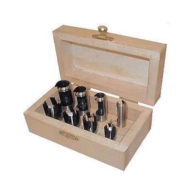 8 Piece Wood Plug Cutter Cutting Tool Drill Bit Set Straight and Tapered Taper