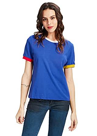 d3c21440b233a1 Image Unavailable. Image not available for. Color  Uideazone Womens Teens  Harajuku Casual Crop Top Short Sleeve Tee Shirt ...