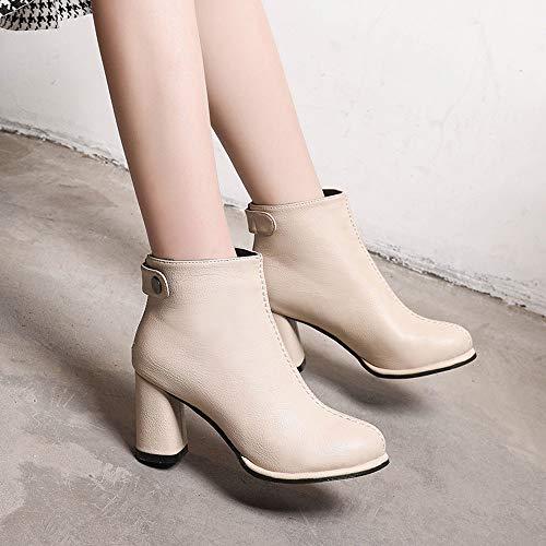 cerniera Beige PAOLIAN solido Donna scarpe tacchi Toe DONNA pelle colore Martin caviglia rotondo Stivali stivali alti Z0ZUn7Wqx