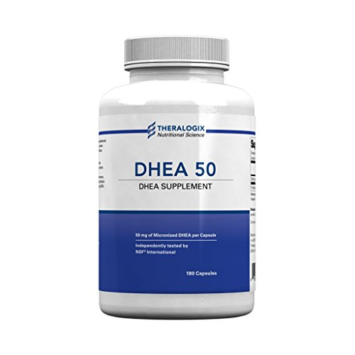 DHEA 50 Nutritional Supplement | Micronized DHEA 50mg | 180 Capsules by Theralogix