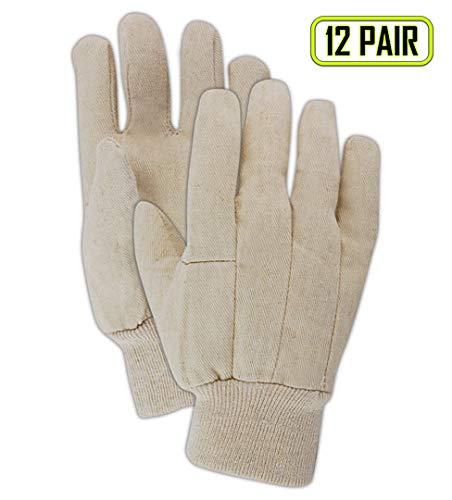 Poly Cotton Canvas Gloves - Magid Glove & Safety T89-AMZN MultiMaster T89 Wing Thumb Canvas Gloves, 8 oz, Cotton Poly Blend, Men's (Fits Large), Natural (12 Pairs)