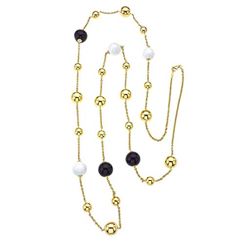 Vaid Roma 18K Gold, Black & White Agate Bead Necklace ()