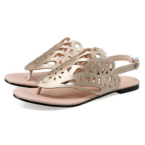 4 Gold TAOFFEN Fashion Women Slingback Sandals Flat Shoes 0wwO1q7Hx