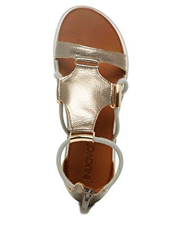 para mujer Cuero Inuovo Sandalias de gris de vestir XwxA1Pq