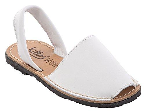 Auténticas sandalias abarcas MENORQUINAS en PIEL para mujer, Fabricado en España, (Talla del 36 a la 41) Blanco