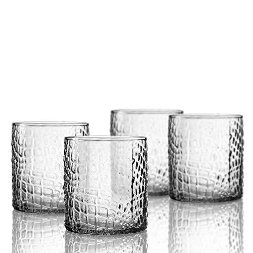Elle Decor 229805-4OF Bistro Croc 4 Pc Set Old Fashion, Clear-Glass Elegant Barware and Drinkware, Dishwasher Safe, 12.8 ()