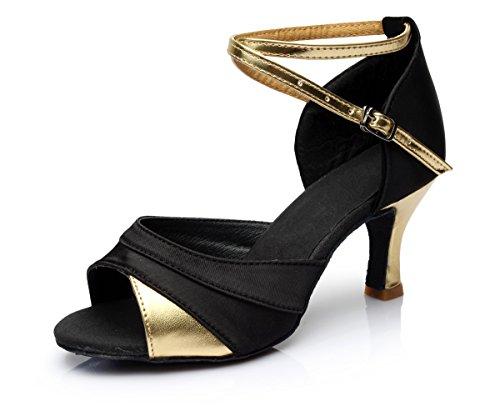 VESI-Zapatos de Baile Latino de Tacón Alto/Medio para Mujer Oro 38(Tacón 7cm)