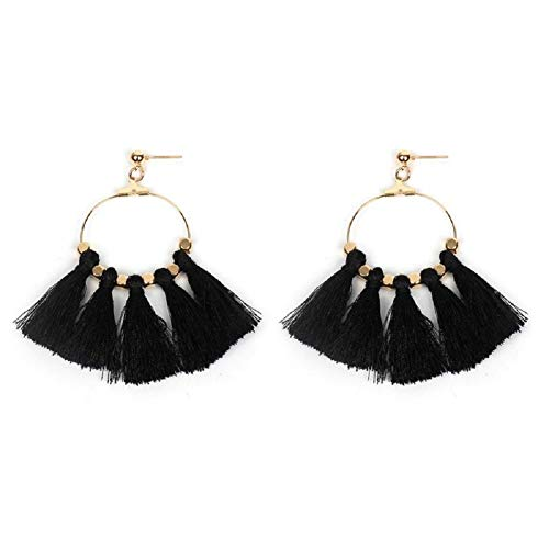 Jiami Fan Tassel Earrings Hoop Drop Dangle Earrings Fish Hook Earring for Daily Wear, Wedding, Party etc (Black-1) -