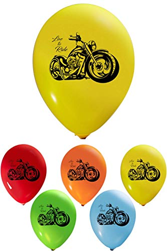 Motorcycle Balloons - 12 Inch Latex - 2 Sided Print (16 Count) for Birthday Parties or Any Other Event Use - Fill with Air or Helium