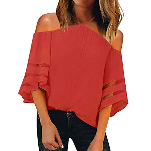 Sunyastor Women's Top,Women Off Shoulder Mesh Panel Blouse 3/4 Bell Sleeve Loose Pullover Blouse Lace Patch Top Tee Red