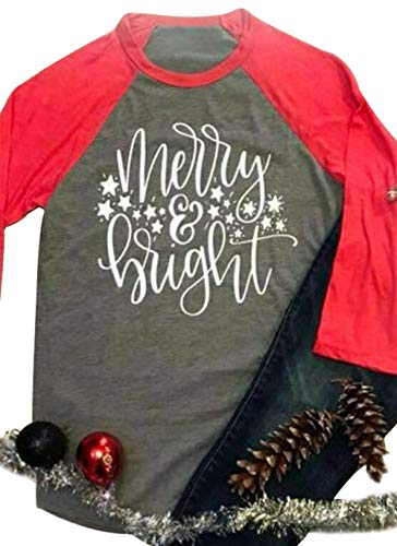 (Ladies Christmas Plus Size Merry Bright Print Splicing Baseball T-Shirt Tops Size XXXL)