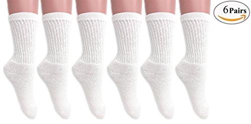 Cotton Crew Socks for Women Made in USA Smooth Toe Seam Socks (9-11, WHITE 6 - Female Usa