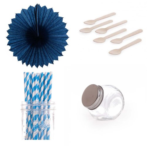 Dress My Cupcake Pinwheels Dessert Table Party Kit, Includes Candy Favor Jars with Blue Striped Straws