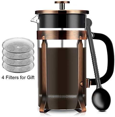 Francés Cafetera eléctrica de prensa, prensa francesa de cristal famirosa Kit Máquina (8 tazas, 1 litro, 34 oz) para café té Camping oficina: Amazon.es: Hogar