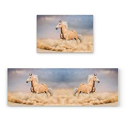 YGUII Horses 2 Piece Non-Slip Kitchen Mat Rubber Backing Doormat Runner Rug Set, Kids Area Rug Carpet Bedroom Rug Palomino Horse in Sand Desert with Long Blond Male Hair Power Wild Animal,